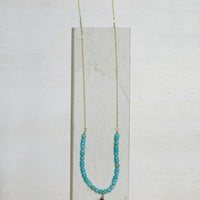 Turquoise Beaded Tassel Necklace