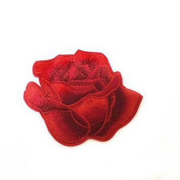 Red Rose Iron on Badge Rose Patch Jeans Red Flower Iron On Patch Jacket Patch Flowers Floral Patches Embroidered Patch Red Rose