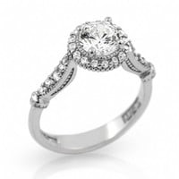 Suzanne's Vintage High Setting Style Cubic Zirconia Engagement Ring