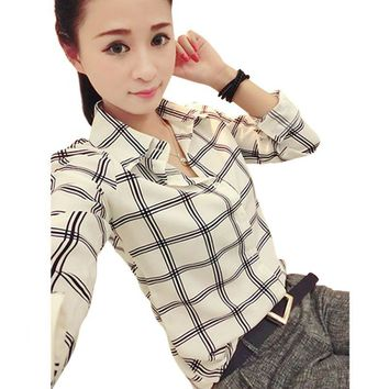Women Career Office Lady Shirt Casual Plaids Long Sleeve Blouses Fitted Tops