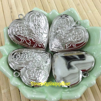4 pcs Silver Plated 28x28mm Heart -shaped Locket Charm with 2 Flowers Pattern, Nickel Free