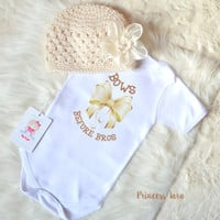Baby girl clothes. Newborn coming home outfit. Bows before bros baby clothes. Cute Baby Girl Set. Baby Girl Bodysuit. Ivory Baby Girl Hat