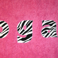 Girls PersonalizedTowel Pink with Zebra Fabric Beach Pool Bath Towel Kids Birthday Christmas Baby Shower Gift