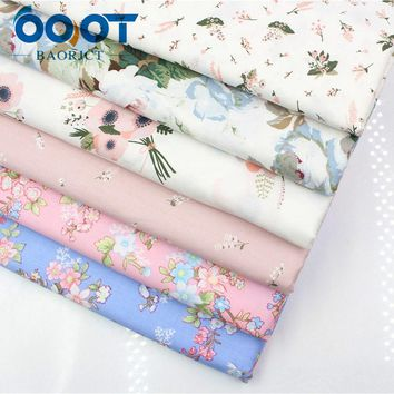 OOOT BAORJCT 1762310,50cm*160cm 6 style choose flower cotton fabric,DIY handmade patchwork cotton cloth,tablecloth Baby bedding