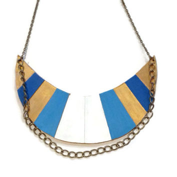 Blue and White leather statement necklace,Painted Aztec necklace, Bold striped Necklace, Art Deco necklace, tribal necklace, boho necklace