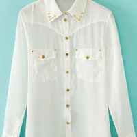 White Pointed Flat Collar Rivet Pockets Long Sleeve Blouse