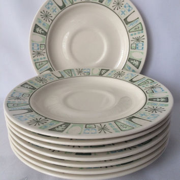 Taylorstone Cathay, Eight Saucers, Atomic Era Dishes, Greens and Aqua, Modern Design, Retro Kitchen, Eames Era Dishes, Mid Century Plates