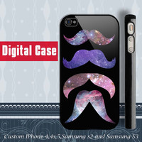Mustache Galaxy iphone 4 case, iphone 5 case, samsung Galaxy S3 case , samsung galaxy s2 case