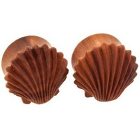 Pair of Sabo Wood Double Flared Ariel's Shells Plugs: 7/16""