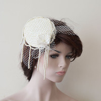 Wedding Accessory, Wedding Head Piece, Bridal Cap, Wedding Cap, Vintage Style, Pearl Headbands, Bridal Hair Accessories