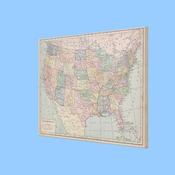 Vintage Map of United States on Canvas Stretched Canvas Print from Zazzle.com