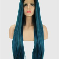 Black To Dark Blue Ombre Synthetic Lace Front Wig