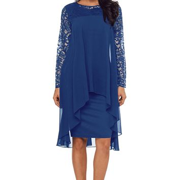 Navy Blue Lace Long Sleeve Double Layer Midi Dress