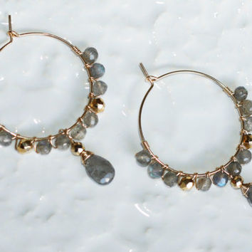 OOAK Faceted A++ Fire Labradorite and Gold Plated Pyrite Wire Wrapped Gold Fill Hoop Earrings Kaya Jewelry