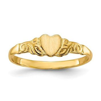 14k Yellow Gold Child's Heart Ring w/ Optional Center Initial Engraving