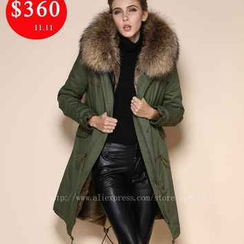 2017 Natural Meifng Rabbit fur Collar Long Style Fur Coat,Military Parkas Winter Jacket Women Fur Coats Winter Coat Women