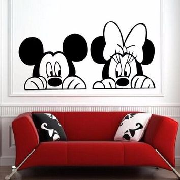 Cartoon Mickey and Minnie Mouse wall art,Cute Animal Vinyl Wall stickers,Baby Room Nursery Decor