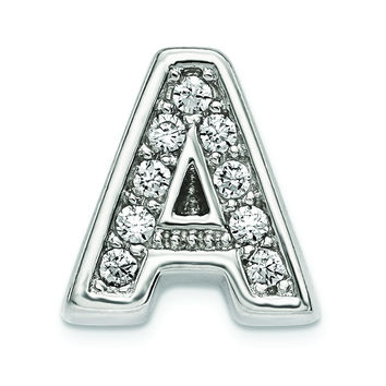 Sterling Silver Rhodium plated CZ Letter A Slide Charm