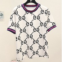 GUCCI Summer New Fashion More Letter Women Men Top T-Shirt Women White