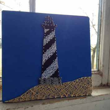 Custom Lighthouse String Art, beach wall decor, beach lover, lighthouse theme