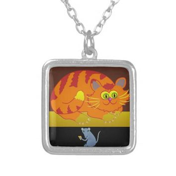 Cat & Mouse Silver Plated Necklace