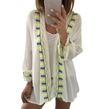 Embroidery Chiffon Women Summer Ladies Tops Cover up