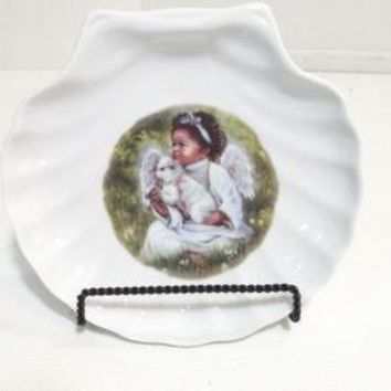 Vintage White Glass African American Angel w/Sheep Shell Dish Platter  Plate