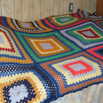 Vintage hand crochet large granny square hippie afghan  Patchwork    bedspread or couch cover  89 x 47 in