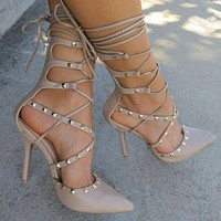 Studded Strappy High Heel Pumps