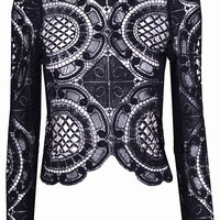 Black Long Sleeve Hollow With Zipper Lace Blouse