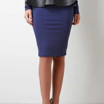 Plate Front Vegan Leather Skirt Belt