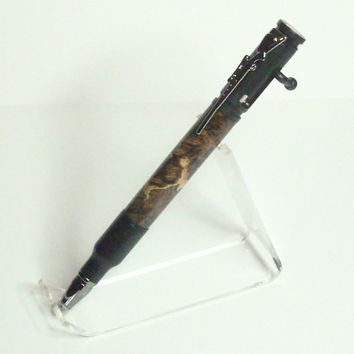Black Enamel Brown Stabalized Box Elder Bolt Action Rifle Pen