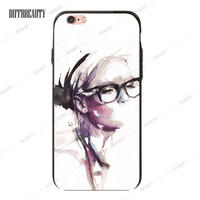 Half Painted Girl in Glasses Phone Case for iPhone 6 7 6Plus 5S SE