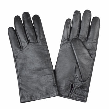 Touch Screen Leather Gloves in Silver