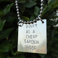 "Silver Square Necklace - ""Kinky as a cheap garden hose"""