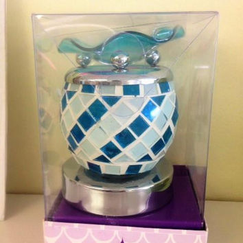 Blue and White electric decorative touch fragrance lamp, aromatic oil burner,scented oil warmer, wax melter