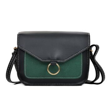 Fashion Women Hit Color Leather Crossbody Bags Messenger Shoulder Bag