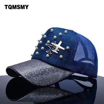 PEAPU3S TQMSMY Brand Snapback Baseball caps Women sun hat aircraft mesh Hip hop cap Summer gorras Pearl sequin bone Visor hats for women