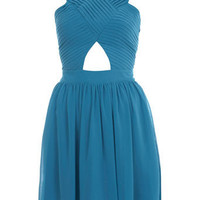 Pleat Bodice Cut Out Dress - Miss Selfridge