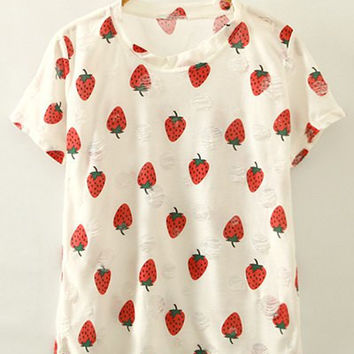 White Strawberry Print T-Shirt