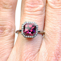 Engagement Ring, Asscher Cut Diamond Ring,  Diamond Ring, Garnet Ring, Garnet Diamond Ring, Rhodalite Garnet, Black Rhodium, OOAK, Nixin