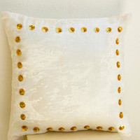 Ivory white velvet pillow -Ivory white gold sequin pillow -Gold pillow -Cream pillow -Gold dot pillow - 16x16 - cream cushion - couch pillow