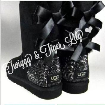 DCCK8X2 Crystal Bling Ugg Bailey Bow Boots made with Genuine Swarovski Crystals in Jet Hematit