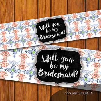 Mason Jar Wedding Label / Mason Jar Printable / Bridesmaid / Bohemian / Mason Jar Gift / Instant Download / Bohemian