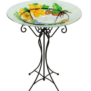 "22.5"" Hand Painted Glass Vibrant Hummingbird & Flowers Outdoor Garden Bird Bath"
