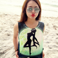 Sailor Moon Women Shirt Girl Tank Tops White  Size S by YesinThis