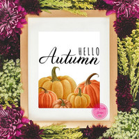 Fall Art Printable,Pumpkin Fall Printable,Fall Pumpkins Decor Signs,Thanksgiving Decor Print, Farmhouse Autumn Poster, Hello Autumn Artwork