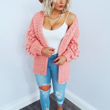 Everything Is Perfect Cardigan: Peachy Pink