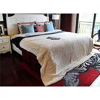 DaDa Bedding Luxury Chinchilla Ivory White Faux Fur Sherpa Fleece Soft Warm Luxe Throw Blanket