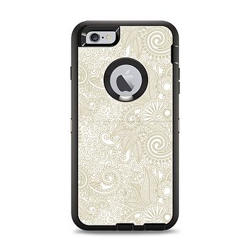 The Tan & White Vintage Floral Pattern Apple iPhone 6 Plus Otterbox Defender Case Skin Set
